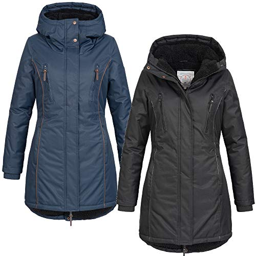 Azuonda Damen Winter Jacke Mantel Winterjacke Parka warm gefüttert Kapuze Az101 XS-XXL 2-Farben