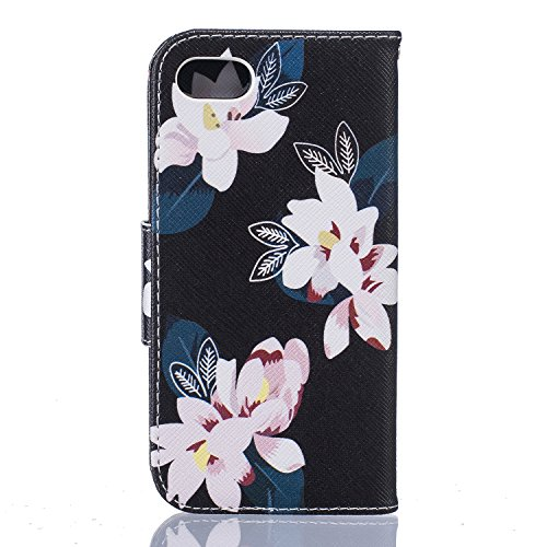 iPhone 7 Hülle,iPhone 7 Tasche iPhone 7 Case - Felfy Flip Bookstyle PU Ledertasche Strap Standfunktion Magnetverschluss Luxe Ledertasche Painted Muster Bunte Malerei Retro Painted Abdeckung Mit Standf Schwarz Lilie