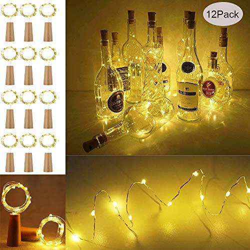 【12 Stück】Flaschen Licht Warmweiß, Se-Mirrorworld 20 LEDs 2M Lichterkette mit Batterie Lichterketten für Flasche LED Flaschenlicht Flaschenlichterkette Korken DIY Weihnachten Hochzeit und Party Deko