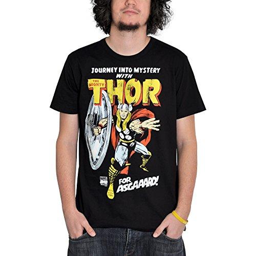 Thor - T-Shirt Easy Fit della Marvel con scritta For Asgaaard! e stampa del super eroe - Nero Con stampa del super eroe in licenza ufficiale, cotone nero - L