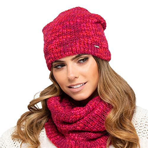 Kamea Damen Mütze Kopfbedeckung Winter Gemustert EU Morelino, Rot,Uni