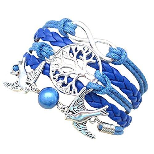 Mit Unendlichkeitssymbol Baum Des Lebens Armband Und Tauben In 11 Farben Geschenkidee (Electric Blue) Zu WäHlen