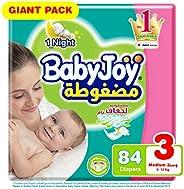 Babyjoy Compressed Diamond pad Diaper, Giant Pack Medium Size 3, Count 84, 6 - 12 KG