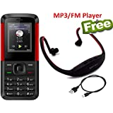 I KALL K5310 Dual Sim Basic Feature Phone Mobile With Bluetooth, 1.8 Inch Display , GPRS, Flash Light, Memory Expandable Upto 8GB , 1000 MAH Battery Capacity And 1 Year Warranty With MP3/FM Player Neckband- Red Black