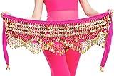 Aivtalk Foulard à Sequin pour Danse Oriental Femme Ceinture Belly Dance Danse du Ventre en Velours avec Monnaies pour Costume Spectacle Cours de Danse Orientale Rose foncé...