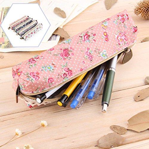 Color rosa flores de encaje Slim estuche con ribetes de piel sintética
