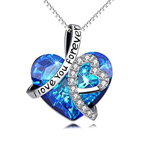 """Kette Herz Sterling Silber """"Ich liebe dich für immer"""" Halskette Damen Anhänger mit Kristall Kristallherz von SWAROVSKI®"""