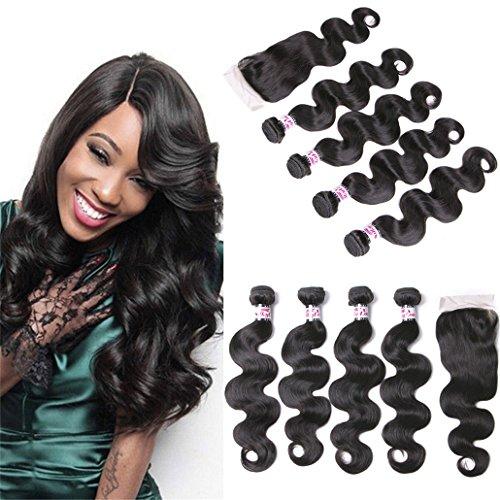 Silkylong Brazilian Hair With Closure Prime Body Wave 4 Bundles Free Closure 4 4 Natural 100 Human Hair 12 14 16 18 +10