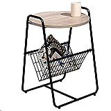 Axdwfd Table basse Bureau en bois massif + Cadre de table en fer forgé Canapé Table d'appoint Chambre à coucher Salon Table de rangement (couleur bois)