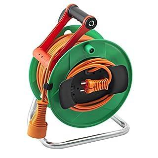 Brennenstuhl Enrouleur Electrique Standard Garden 28,5m + 1,5m (H05VV-F 2X1,5, IP20, poignée cablepilot, vert, garantie 3 ans), Fabrication Française