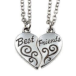 Broken Heart 2 Piece Best Friends Fashion Women Men Gifts Friendship Couple Silver Tone Alloy Pendant Necklace Friendship Necklace For 2 (Best Fiends Chain)