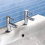 The Home Store | Modern Twin Basin Sink Hot and Cold Taps Luxury Pair Chrome Bathroom Faucet F02
