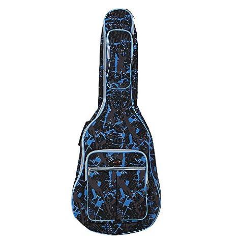 ammoon 600D Wasserdicht Oxford Cloth Camouflage Blau Doppelt genähte Padded Straps Gig Bag Gitarre Tragetasche für 40 Zoll Akustikgitarre Klassik Folk
