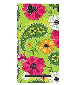 Printvisa Green And Pink Floral Pattern Back Case Cover for Sony Xperia T2 Ultra::Sony Xperia T2 Ultra Dual