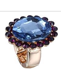 Anillo plateado oro de las señoras del diamante de la piedra preciosa azul