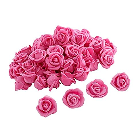 Crystalove 30pcs Foam Fake Flowers Rose Heads (1 inch, Peach)