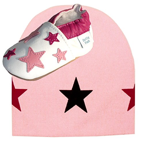 dotty-fish-white-pink-star-baby-shoes-with-pink-star-beanie-hat-uk-5
