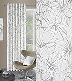 Schlaufenschal 140x245 cm LUIZA weiß + grau Wohnzimmer Blickdicht Blumen Muster