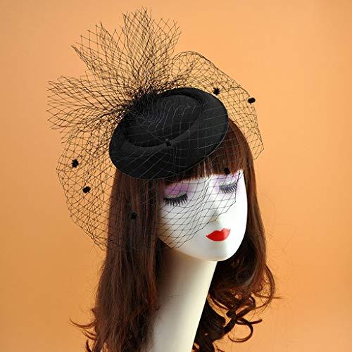 zrshygs Womens Filz Fascinator Hut Topper Netz Netzschleier Kleine Plüsch Welle Punkt Dekor Haarspangen Hochzeit Braut Cocktail Headwear - Schwarz -