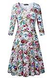 Damen Vintage 3/4 Ärmel Sommerkleid Traeger mit Flatterndem Rock Blumenmuster