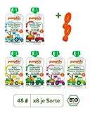 Pumpkin Organics ERSTE LIEBE Bio Baby-Brei Quetschbeutel 50er Pack (50 x 100g plus 2 Löffelaufsätze) - Snack für Kinder und Babys ohne Zusatzstoffe ab dem 6. Monat