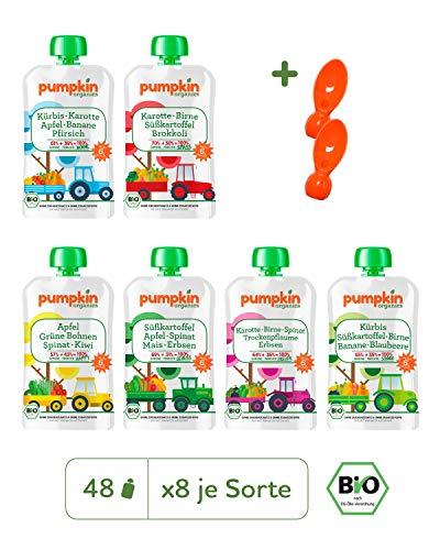 Pumpkin Organics ERSTE LIEBE Bio Baby-Brei (Wonne, Spass, Happy, Genuss, Freude, Sonnig) Quetschbeutel 48er Pack (48 x 100g plus 2 Löffelaufsätze) - Für Kinder und Babys ab dem 6. Monat