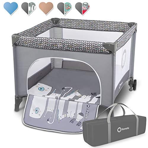 Lionelo Stella Reisebett, Laufstall für Baby, ab Geburt bis zum 15 kg, Tragetasche, Moskitonetz (GREY SCANDI)