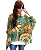 T Shirt con Stampa - Feelme Camicette Magliette Camicia Chiffon Girocollo Camicie Sciolto Blusa Eleganti Camicetta Maniche manica 3/4 Donna (Boho-04)