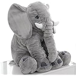 Enjoygoeu Elefanten Kissen Kuscheltier Plüsch Stuffed Weiches Kissen Schlafkissen Kinder Baby Plüschtier Spielzeug Groß 60 x 50 x 25cm
