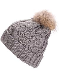 FEITONG Las mujeres del sombrero del ganchillo Pieles de lana de punto Beanie mapache casquillos calientes