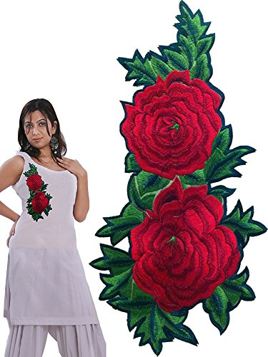 rose embroidered patch for suits and kurtis (Red)