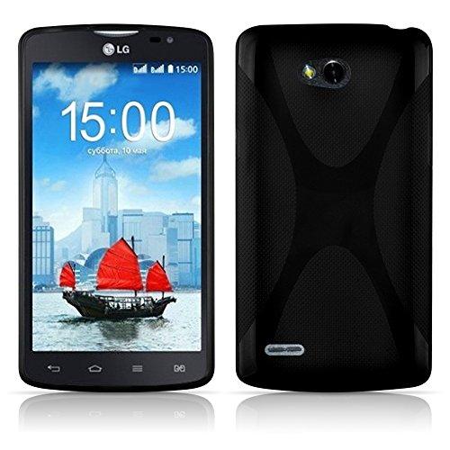 Preisvergleich Produktbild Cadorabo Hülle für LG L80 - Hülle in OXID SCHWARZ – Handyhülle aus flexiblem TPU Silikon im X-Line Design - Silikonhülle Schutzhülle Soft Back Cover Case Bumper