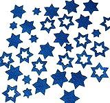 Stern, Sterne aus FILZ. Streudeko. 5 gr. ca. 30-45 Teile. Ca. 2-4 cm. In BLAU bl