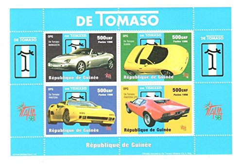 classic-car-stamps-for-collectors-de-tomaso-sports-cars-4-mint-stamps-never-mounted-and-never-hinged