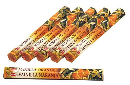 HEM Räucherstäbchen Sparset. 6 Packungen a 20g Ca 120 Sticks Vanilla Orange
