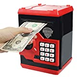 HUSAN 1 New Gift Kids Code Piggy Mini ATM Electronic Bank Coin Box for Children Fun Toy (Red)