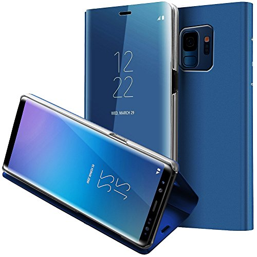 Galaxy S9 Custodia, WATACHE Smart Sleep / Wake Up Finestra S-View Specchio trucco Placca Placcatura Stand Caratteristica Slim Custodia protettiva Full Body Flip Cover per Samsung Galaxy S9(Blu)
