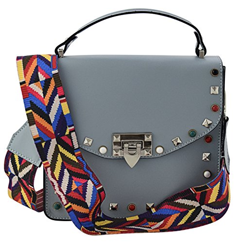 Damen in Echtes Made Tasche Schultertaschen Hellblau Italy Leder Handtaschen Henkeltaschen ADELE q7wOCxgx