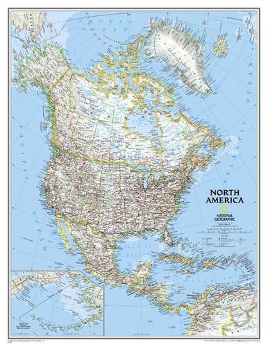 **north america politique enl. encaps92 cm X 117 cm par  National Geographic Maps