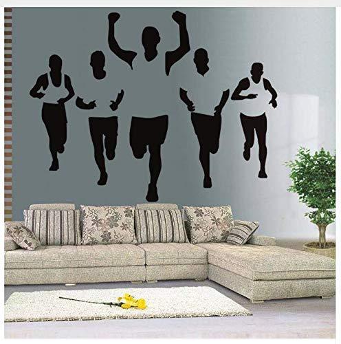 Aushöhlen Design Fünf Männer Marathonlauf Leichtathletik Wandaufkleber Pvc Removable Schlafzimmer Dekorative Vinyl Kunst Design Wandtattoo 57 * 44 Cm