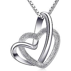 Collier diamanté pour femme fille, en argent 925, Pendentif cœur, Zircone cubique, Cadeau parfait pour maman, Saint-Valentin, anniversaire et Noël