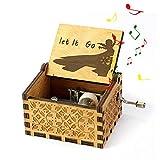 Boîte à Musique Congelés,MOGOI Antique manivelle main sculptée en bois boîtes à musique plus beau cadeau pour Noël anniversaire