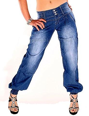 Damen Sexy Haremshose Pumphose Pluder Boyfriend Sarouel-Aladin Harem Hose Jeans 164 (38 - M)