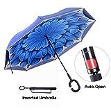 Paraguas Invertido con Tira Reflectora de Luz, Auto-Abierto Doble Capa Paraguas