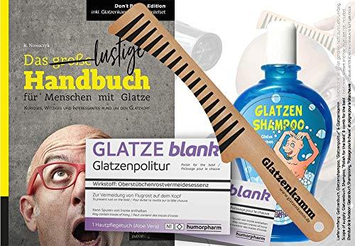 Das ULTIMATIVE Glatzen Geschenkset (4-teilig)   Glatzenbuch, Glatzen-Kamm, Glatzen-Politur & Glatzen-Shampoo   Geburtstags-Geschenk   Erste Hilfe Set Glatzenträger, witzige Geschenkidee   4-teilig