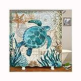 Beydodo Duschvorhang Antischimmel Schildkröte 3D Lustiger Duschvorhang 168x183