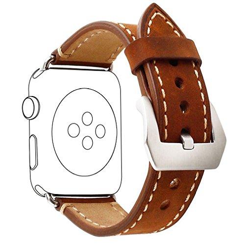 Apple Watch Band 38mm, [Versión actualizada] Zolion iWatch Correa Premium Vintage Crazy Horse Reemplazo de cuero genuino banda de reloj con cierre de metal inoxidable para todos Apple Watch Sport Edition (Brown)