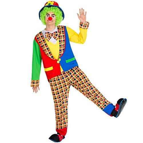 Geist Halloween Kostüm Harlekin - TecTake dressforfun Herrenkostüm Clown | Kostüm + Clown-Nase & Schlapphut mit Filzblume | Harlekin Clown-Kostüm Fasching (XL | Nr. 300841)