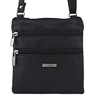 New Womans Leather Style Cross Across Body Shoulder Messenger Bag Zipped (Black)