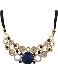 Crunchy Fashion Blue Brass Crystal Choker Necklace For Women